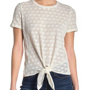 Madewell Modern Tie Front SS Top, Size XL